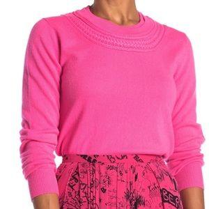 BURBERRY | Pink Cashmere Crochet Neck Sweater